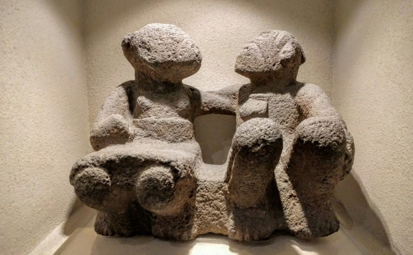 Prehispanic sculpture of an old couple